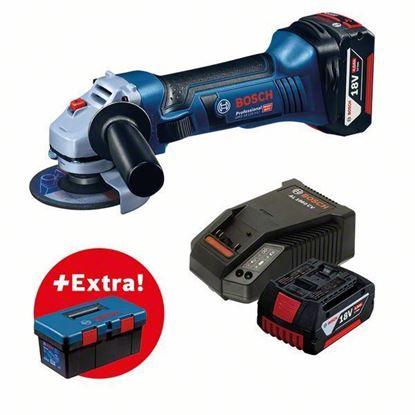 Снимка на Акумулаторен ъглошлайф GWS 18-125 V-LI + 2 x акумулаторна батерия GBA 18V 4.0Ah + Toolbox PRO